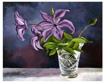 Still Life with glass vase  Original painting made by hand with acrylic colors