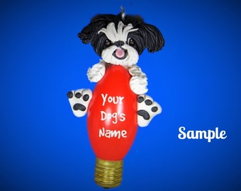Black and white Shih Tzu Dog Christmas Holidays Light Bulb Ornament Sally's Bits of Clay OOAK PERSONALIZED FREE with dog's name