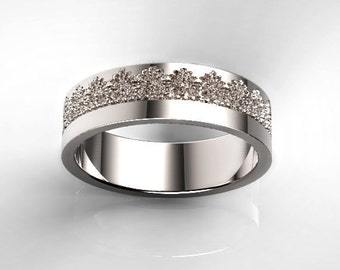 Platinum Wedding Band with a Beautiful Lace Pattern, Platinum Anniversary Ring, Platinum Wedding Ring, Lace Platinum Ring, Platinum Band