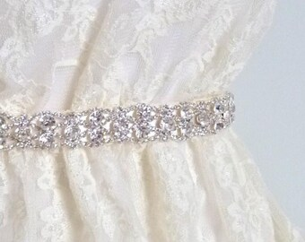 Thin Bridal crystal belt, rhinestone sash, beaded bridal sash, crystal bridal belt, wedding belt, wedding sash, crystal bridal belt