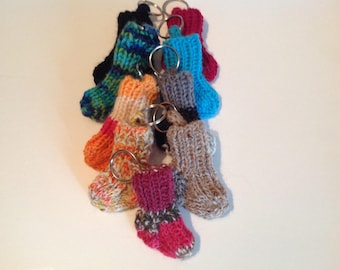 Sock keychain, wool sock keychain, sock keyring, wool sock keyring