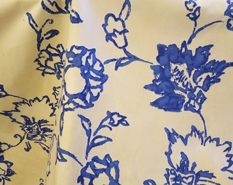 FLORAL stylized COTTON drapery upholstery fabric,  2 yard piece, royal blue, butter yellow, 07-43-04-0711