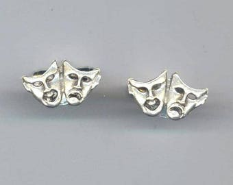 Theater Mask Cuff-links, Silver Plated Cufflink, Father's Day Man/Men in Black Cuff-links, Everyday Men accessories, Comedy&Drama Cuff Links