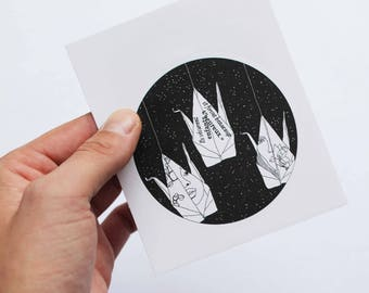 Large round Sticker / origami Lovers / sticker