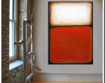 Large Rothko inspired, original abstract painting, Color Fields, white gold orange red black wall art by Kurt Wedgley