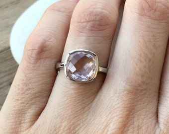 Faceted Amethyst Square Ring- Lilac Stackable Ring- Simple Cushion Cut Ring- February Birthstone Ring- Sterling Silver Ring