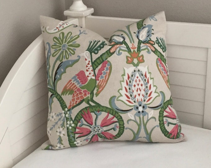 Thibaut Peacock Garden in Coral and Pink Designer Pillow Cover- Square and Euro Sizes