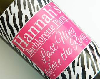 Set of 20 - PERSONALIZED WINE LABEL - Zebra Girly- For Weddings, Bachlorette Party Or Any Special Occasion