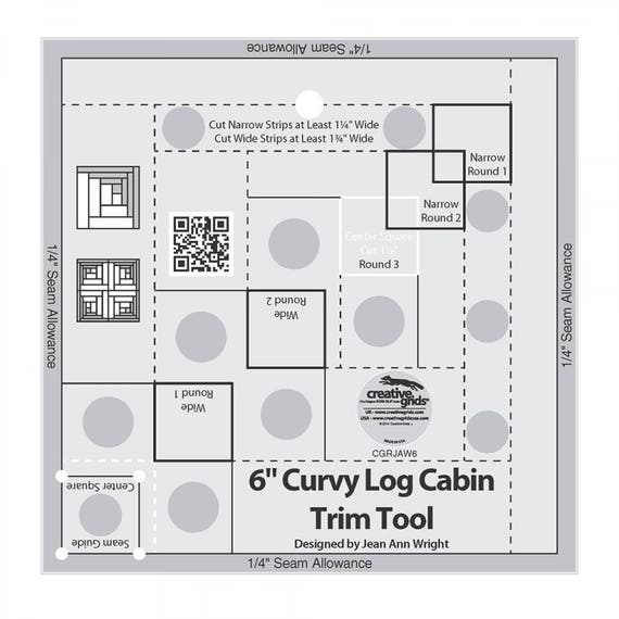 Quilt Ruler Curvy Log Cabin Trim Tool For 6 Inch Finished Quilt Blocks, Non Slip Ruler Designed by Jean Ann Wright For Creative Grids USA