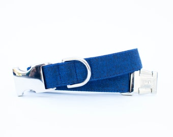 Dog Collar - Flannel Navy Herringbone