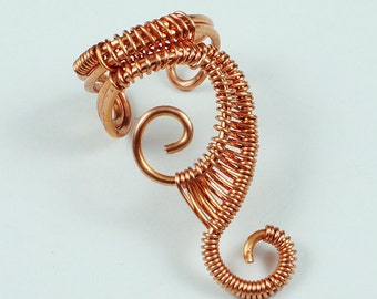 Woven Swirly Ear Cuff, Copper, Gold, Red, Blue, Green, Purple and other colors