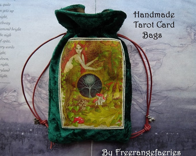 Featured listing image: Green Goddess Velvet Tarot Bag