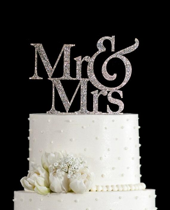 Glitter Mr And Mrs Wedding Cake Toppers In Your Choice Of Glitter, Elegant Custom  Wedding Cake Toppers, Unique Wedding Cake Topper (T001)