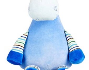 Personalised embroidered blue giraffe pastel cubbie