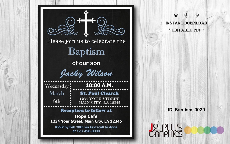 INSTANT DOWNLOAD Baptism Invitation Boy Christening