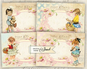 thinking of you - digital collage sheet - set of 4 cards - Printable Download