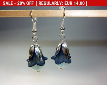 Blue Bell Flower Earrings, Bellflower,