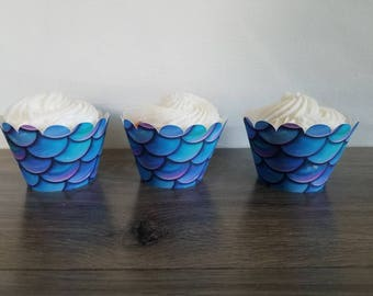 12 count mermaid fishtail scale cupcake wrappers Wave cupcake wrappers, Ocean, Moana, little mermaid, beach, Ariel, frozen, nautical.