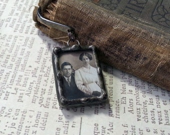 Personalized Bookmark, Soldered Glass Photo Charm, Mothers Day Gift,  Memorial Picture Keepsake, Wedding Memorial, Guestbook Accessory