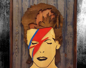 DAVID BOWIE Aladdin Sane Wooden Sign (Wall Decor | Wall Art | Wall Sign | 3D Sign | Music Sign) -- Cosmic Mountain Designs
