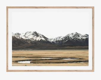 Mountain Print, Mountain Art, Digital Prints, Printable Art, Neutral Artwork, Photography Prints, Field, Stream, Wall Art, Snowy Mountain