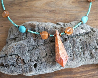 Jewelry Handmade Tangerine Aura Quartz Point Raw Orange Crystal Necklace Crystal Point Necklace Amazonite Seafoam Green mens custom necklace