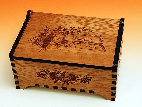 Custom Wooden Jewelry Box Antique Bird Design Laser Cut