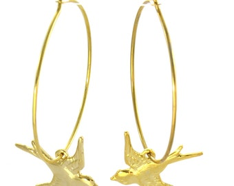 Birdhouse Jewelry  - Silver/Gold Sparrow Hoops
