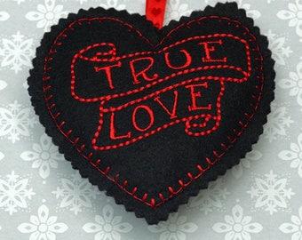 Embroidered heart, felt heart,  hanging heart, machine embroidered heart, love, true love