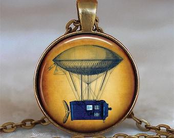Steampunk Tardis necklace, Steampunk Tardis pendant Tardis jewelry Steampunk Dr Who necklace Dr Who jewelry key chain key fob key ring