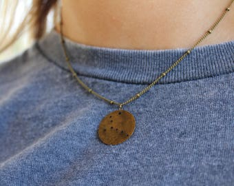 Hand-Stamped Zodiac Sign Constellation Necklace