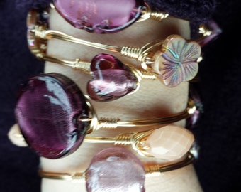 Purple Peace Gold Boodle Bangles