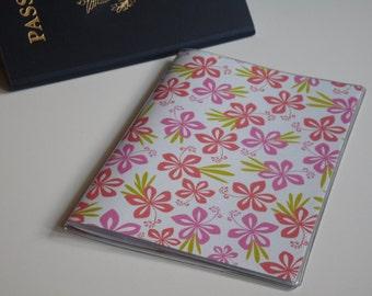 Pink Passport Cover, Small Hawaiian Flowers, Passport  Sleeve, Case, Holder