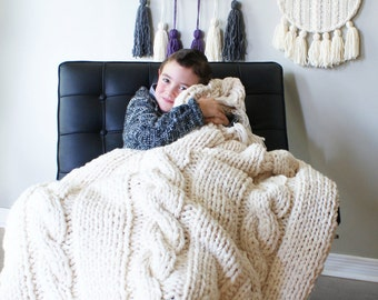 "DIY Knitting PATTERN - Triple Cable Throw Blanket / Rug 49"" x 64"" (2015014)"