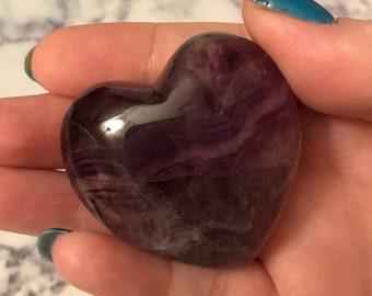 Purple Fluorite / Fluorite Puffy Heart / Heart Crystal / Healing Crystal / Boho Decor / Puffy Crystal Heart / Gift for Her / Crystal Healing