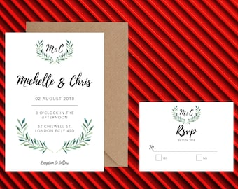 Watercolour leafy wedding invite, package with RSVP and Invite that is customisable and downloadable