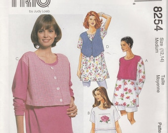 Nursing Top Pattern Nursing Shirt With Overlay Misses Size 12 - 14  Uncut  McCall's 8254