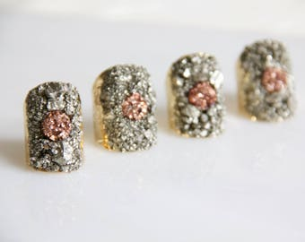 Pyrite Chip, Rose Gold Druzy, Adjustable Cuff Ring