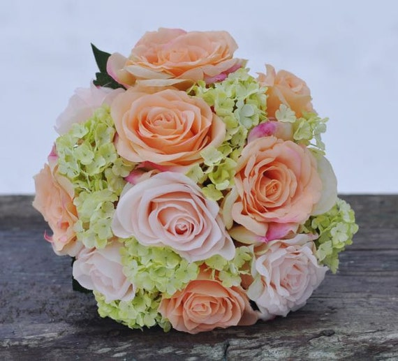 Coral And Pink Wedding Flowers: Coral And Pink Rose With Green Hydrangea Wedding Bouquet Made