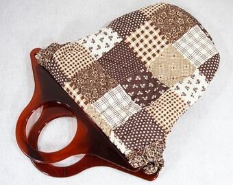 7 Dollar Sale---Vintage 70's Patchwork Fabric Tote Bag w/ Lucite Handles
