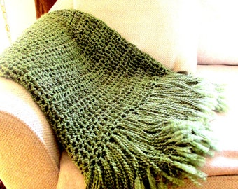 Throw Blanket  with Fringe Olive Green Blanket, Afghan, Home Decor, Earth Tones Decor READY TO SHIP, Rustic Soft, Limited Edition.