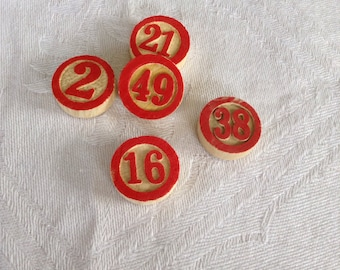 5 Wooden Bingo Numbers - Lotto - Housey Housey - Mixed Media - Altered Art