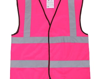 Hot Pink Safety Reflective Hi Visibility Vest, 6 Sizes, Riding, Hen Nights etc6