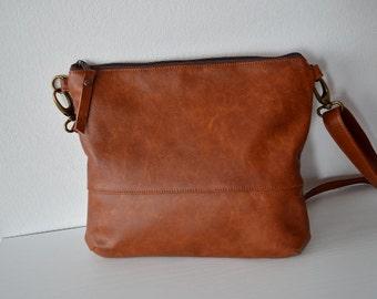 Leather Crossbody Bag, Distressed Shoulder Purse, Leather Bag Purse