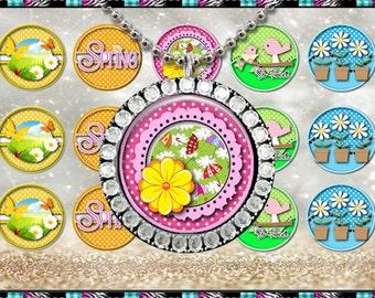 """So Tweet Spring Mix 245 - INSTANT DIGITAL DOWNLOAD - 1"""" Bottlecap Craft Images (4x6) Digital Collage Sheet"""
