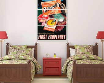 Greetings from Exoplanet Space Travel Triptych Metal Wall Art