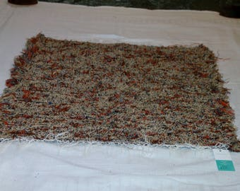 "Homemade Loom Woven Shades of Fall Colors Shag Rug 30"" X 33"""