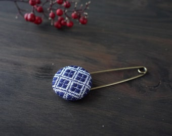 Japanese Kogin-sashi brooch, embroidery pin brooch, hand stitched accessory, navy
