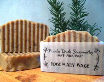 Rosemary Sage Herbal Goat Milk Soap with Essential Oil, Olive Oil, Rice Bran Oil and Rubbed Sage