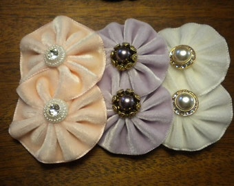 Pastel Colors Velvet Cocarde Brooches Vintage Buttons
